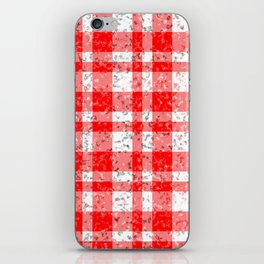 Red White Patchy Marble Tartan Pattern iPhone Skin