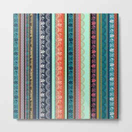 Bohemian Tribal Stripe Metal Print