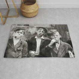 Newsies Boys Smoking Lewis Hine 1910 Rug