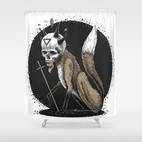 kitsune Shower Curtains featuring Kitsune Demon Fox by pakowacz