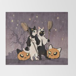 halloween cats Throw Blanket