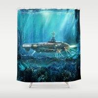 submarine Shower Curtains featuring Steampunk Submarine by FantasyArtDesigns