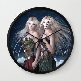 Gemini zodiac fantasy Wall Clock