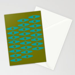abstract eyes pattern aqua olive Stationery Cards