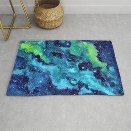 """Blue Dust"" Nebula watercolor painting Rug"