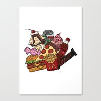 junk food Canvas Prints featuring Junk Food by gem ☮