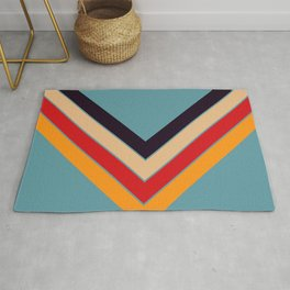 V Shape Colorful Retro Stripes Eopsin Rug