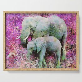 Elephant art mother child pink floral Serving Tray