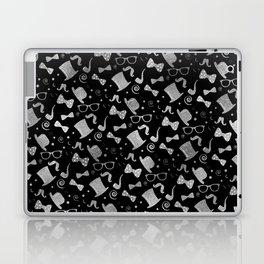 Hipster Elements Pattern silver on black Laptop & iPad Skin