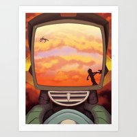 flcl Art Prints featuring FLCL - Off into the Burning Sunset by PinStripes Studios
