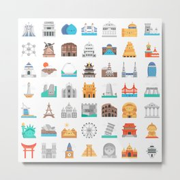 CUTE FAMOUS MONUMENTS PATTERN Metal Print