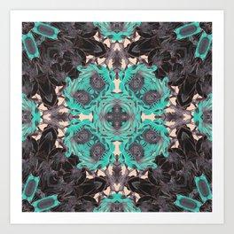 mandala flowers greena and black #mandala Art Print