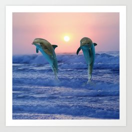 Dolphins at sunrise Kunstdrucke
