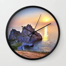 Lake baikal. Shaman rock Wall Clock