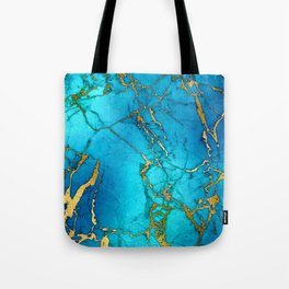 Gold And Teal Blue Indigo Malachite Marble Tote Bag