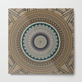 Vintage Paper Mandala Metal Print