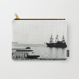 ships on a calm sea black and white Carry-All Pouch