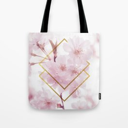 Cherry Blossoms Geometry Tote Bag
