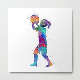 Girl Basketball Player Art Colorful Watercolor Sports Art Gift for Children Basketball Kid Metal Print
