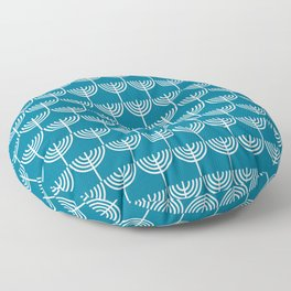 Hanukkah Menorah Pattern in White and Teal Blue  Floor Pillow