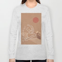 Woman in Nature Illustration Long Sleeve T-shirt