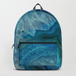 Blue agate marble faux druse crystal quartz gem gemstone geode mineral stone photograph hipster Backpack