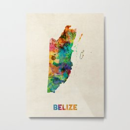 Belize Watercolor Map Metal Print
