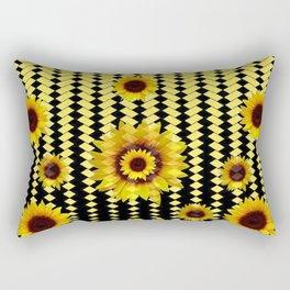 YELLOW SUNFLOWERS BLACK ABSTRACT PATTERNS ART Rectangular Pillow