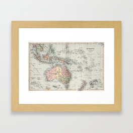 Vintage Map of Oceania (1892) Framed Art Print