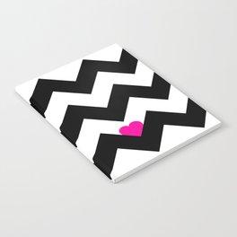 Heart & Chevron - Black/Pink Notebook