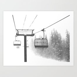Chairlift Abyss // Black and White Chair Lift Ride to the Top Colorado Mountain Artwork Art Print