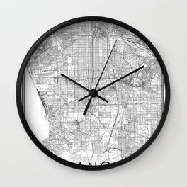Los Angeles City Map United States White and Black Wall Clock