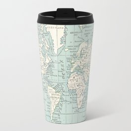 World Map in Blue and Cream Travel Mug