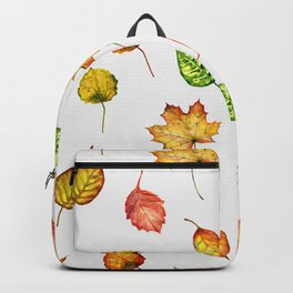 Hand painted green gold brown red Autumn leaves Backpack