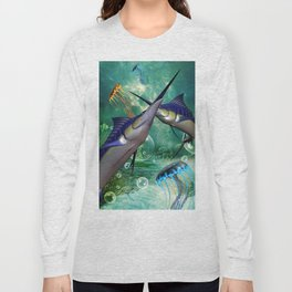 Awesome marlin with jellyfish Long Sleeve T-shirt