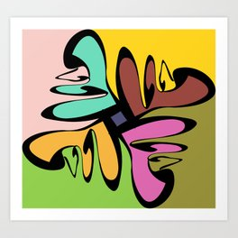 Four Faces Abstract Art Print