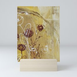 Yellow Tan Spring Abstract Flowers. Jodilynpaintings. Abstract Floral Mini Art Print