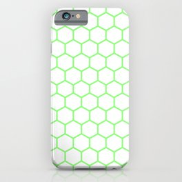 Honeycomb (Light Green & White Pattern) iPhone Case