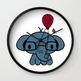 cute elephant with glasses holding a balloon Wall Clock