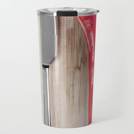 Red pepper on chopping board Travel Mug