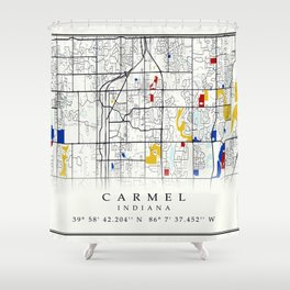 Carmel Indiana Map with GPS location Shower Curtain