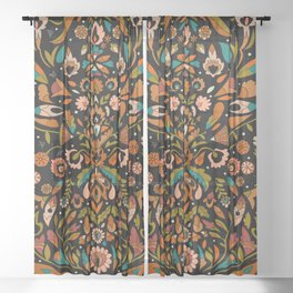 Botanical Print Sheer Curtain