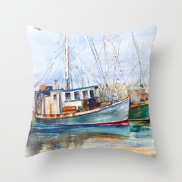 Fishing Boats (Namaste) Throw Pillow