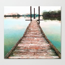 Stroll on the Dock at Sunset Canvas Print