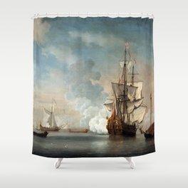 Willem van de Velde the Younger - English Warship Firing a Salute Shower Curtain