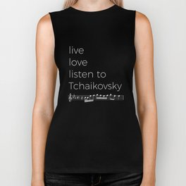Live, love, listen to Tchaikovsky (dark colors) Biker Tank