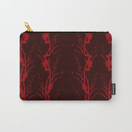 Red on Red Floral Stripe Carry-All Pouch