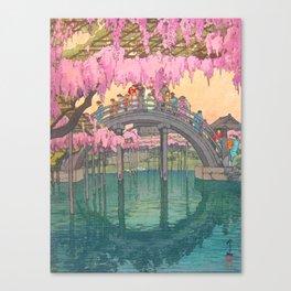 Yoshida Kameidô Japanese Woodblock Print Vintage Asian Art Wisteria Garden Bridge Canvas Print