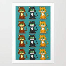 Cute Kawaii Cat illustration design Art Print