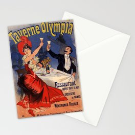 Taverne Olympia Restaurant 1896 By Jules Cheret   Reproduction Art Nouveau Stationery Cards